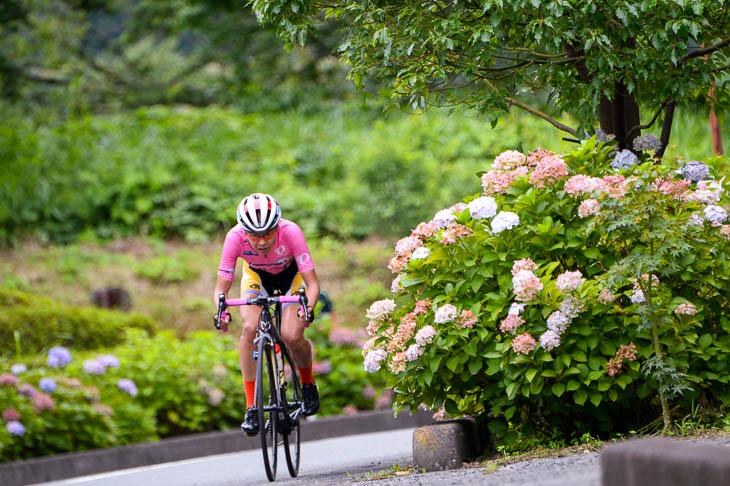 F コース沿道に咲くアジサイの花の中を行く唐見実世子(弱虫ペダルサイクリングチーム)