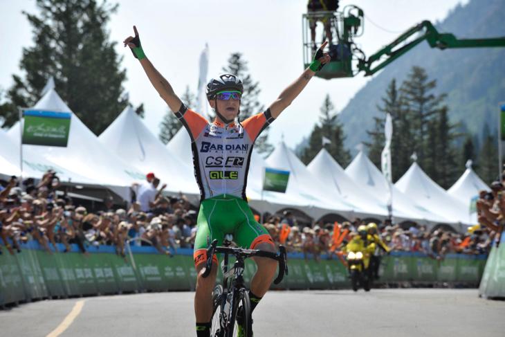 超級山岳フィニッシュで優勝したジウリオ・チッコーネ(イタリア、バルディアーニ・CSF)