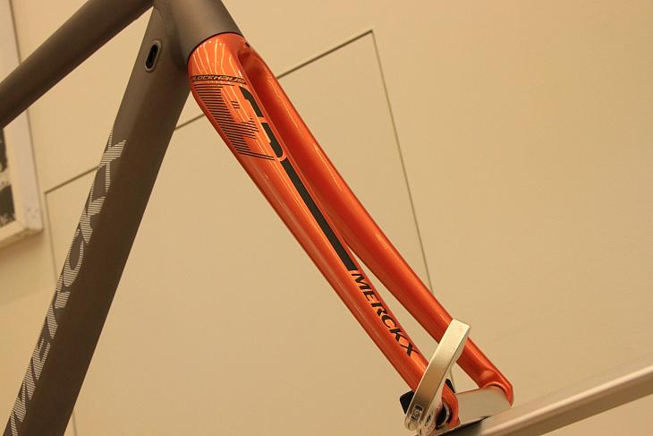フルカーボンのフォークはフレームと反対にグロス仕上げ