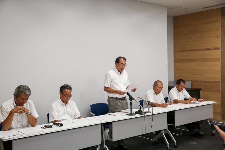8月18日、福井県立体育館で行われた記者会見。福井県体協と福井県車連が出席
