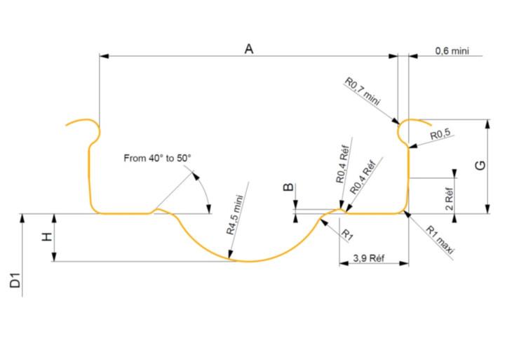 リム断面形状のモデル図 この各部寸法に込められたテクノロジーがUSTのキモだ