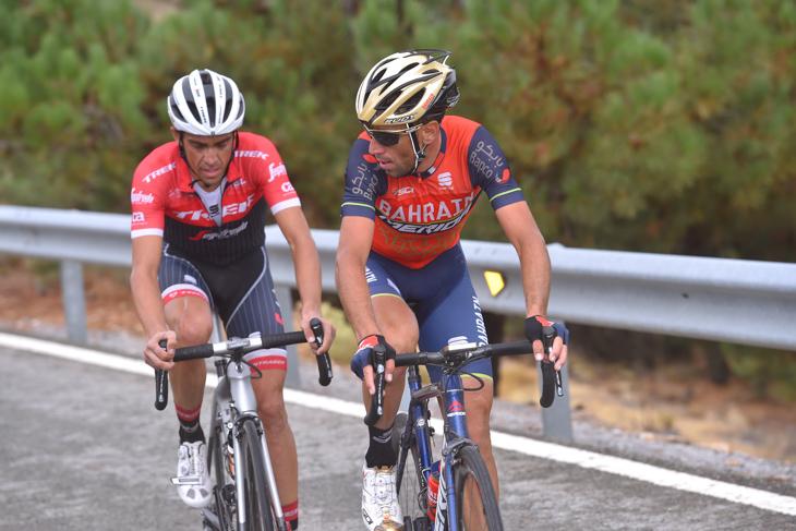 積極的な走りを見せたアルベルト・コンタドール(スペイン、トレック・セガフレード)とヴィンチェンツォ・ニーバリ(イタリア、バーレーン・メリダ)