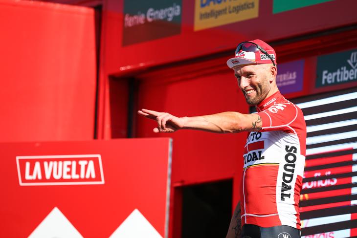 ステージ2勝目をアピールするトーマス・マルチンスキー(ポーランド、ロット・ソウダル)