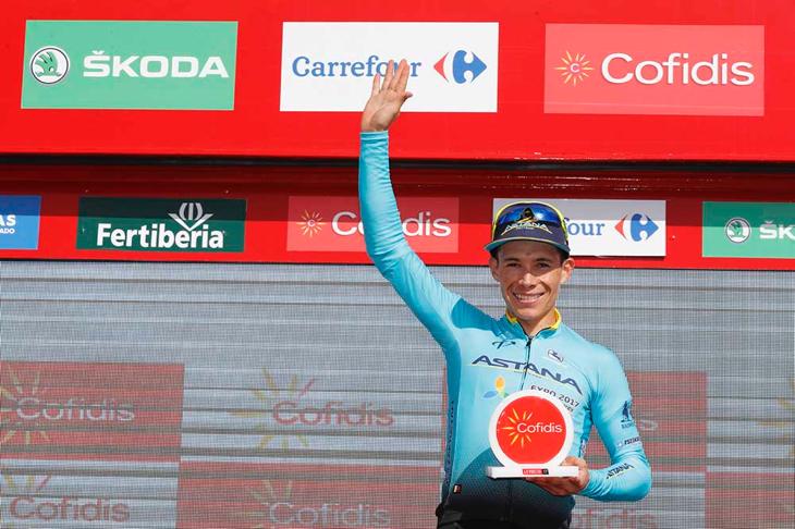 ステージ優勝を飾ったミゲルアンヘル・ロペス(コロンビア、アスタナ)