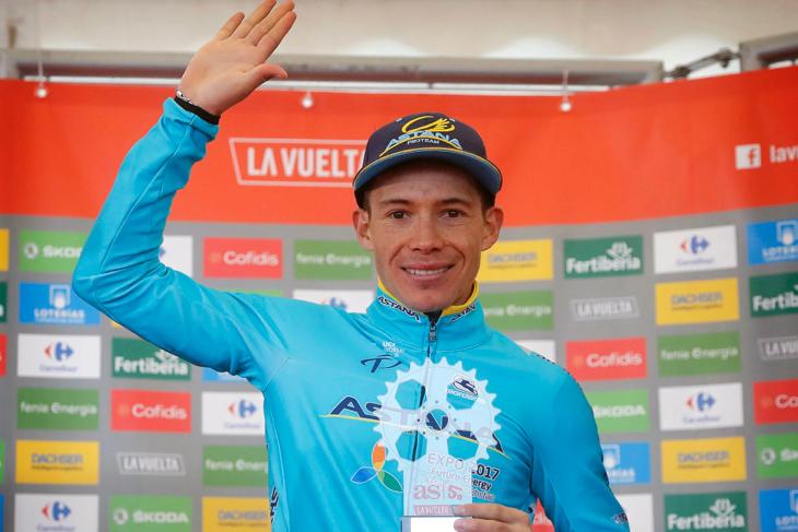 下りで遅れ、総合8位に落ちたミゲルアンヘル・ロペス(コロンビア、アスタナ)