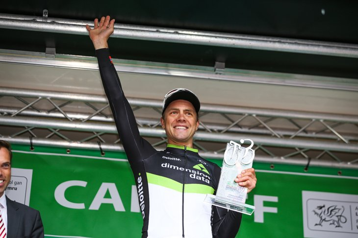 ようやくステージ優勝を手にし、総合2位に浮上したエドヴァルド・ボアッソンハーゲン(ノルウェー、ディメンションデータ)