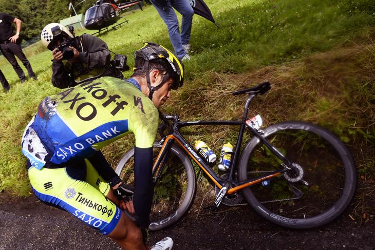 2014年 ツール・ド・フランスを落車リタイアしたアルベルト・コンタドール(ティンコフ・サクソ)