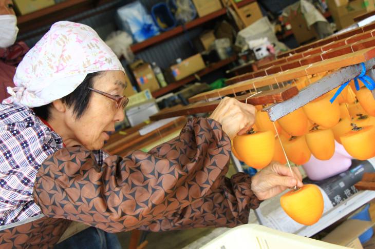 おばあちゃんに柿の結び方を教えていただきました