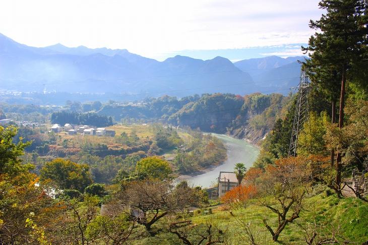 大きくカーブする荒川とそれを囲む木々が美しい里山の風景を描き出します