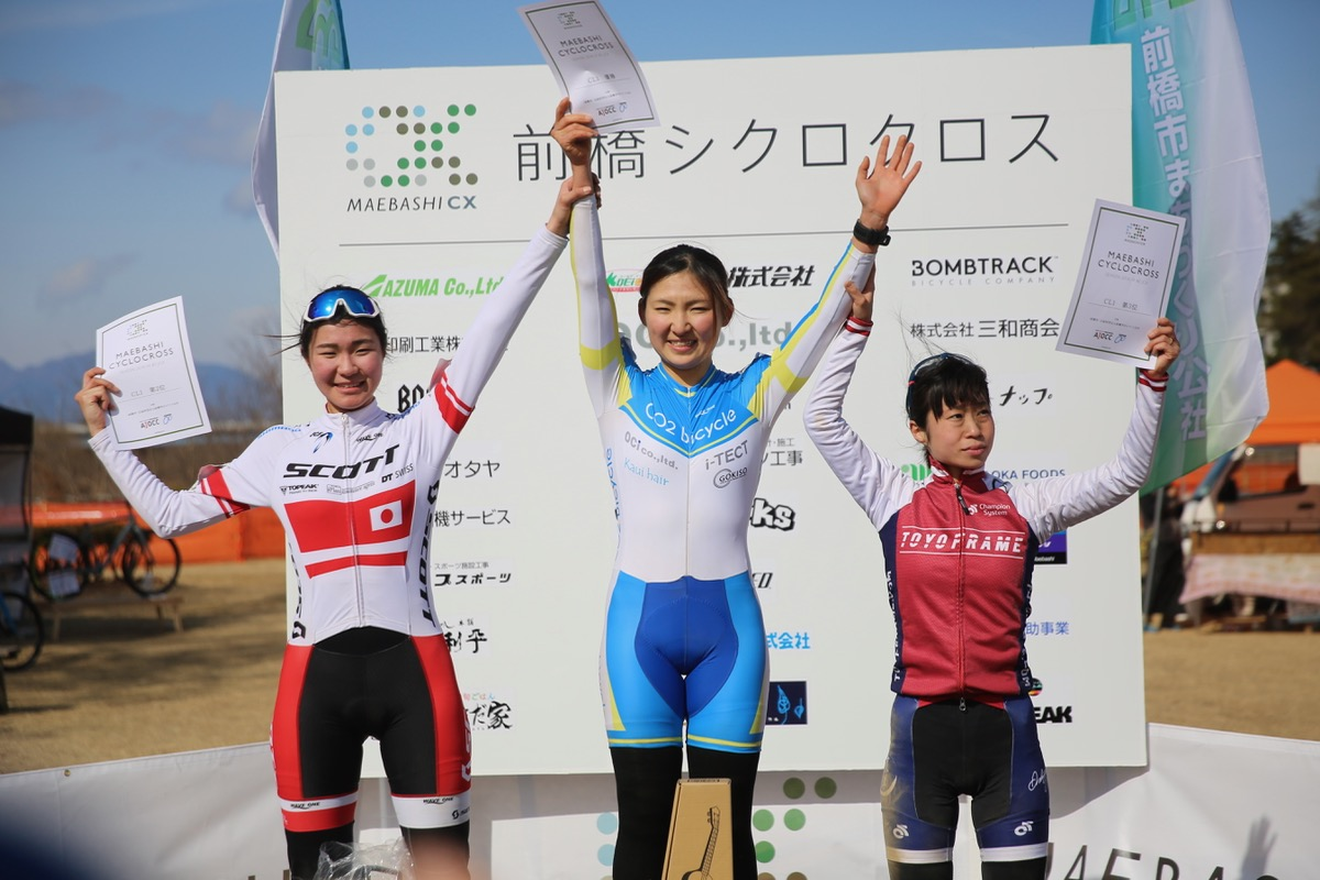 CL1レース表彰台 今井美穂(CO2bicycle)が地元レースを制す